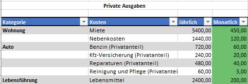 Eingabe private Ausgaben