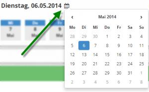 Datum fuer die Zeiterfassung ueber Kalender auswaehlen