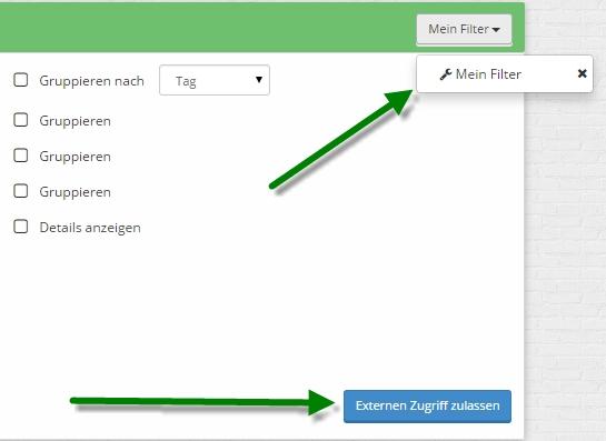 Gespeicherter Filter und externe Freigabe der Zeiterfassungsdaten