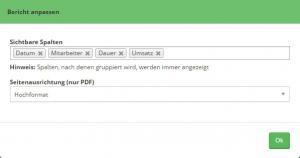 Konfigurierbare Spalten für den PDF Export