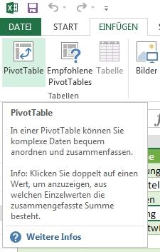 Pivot Tabelle erstellen