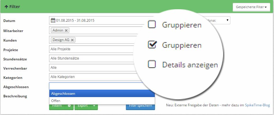 Filter und Gruppierung